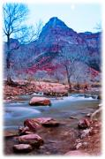 Southern Utah Framed Prints - Moonrise Over Zion Framed Print by Irene Abdou