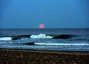 Sea Moon Full Moon Posters - Moonrise Rexham Beach Poster by Malcolm Lorente