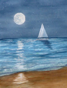 Sealife And Beaches - Moonrise Sail by Pauline Ross