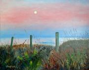 Scott Plaster Paintings - Moonrise Sunset by Scott Plaster