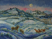 Ewes Art - Moonrise through the Afterglow by Dawn Senior-Trask