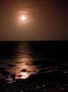 Moonlit Night Photos - Moons Sets Over the Atlantic by Christine Sharp