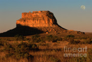 Golden Light Photos - Moonset At Fajada Butte by Sandra Bronstein