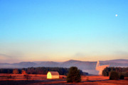 Valley Green Prints - Moonset Green Bank Telescope Print by Thomas R Fletcher
