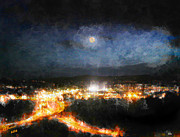 Prescott Posters - Moonshine Over Prescott Poster by Arne Hansen