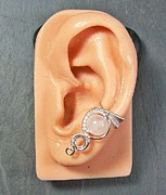Wire-wrapped Jewelry Originals - Moonstone and Silver Woven Gemstone Ear Cuff by Heather Jordan