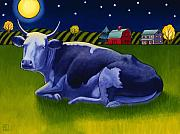 Bovine Art - Mooonlight by Stacey Neumiller