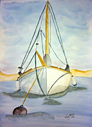 Sailing Greeting Cards Prints Prints - Moored at Sea Print by Eva Ason