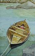 Paddles Paintings - Moored Boat by Debbie Payne