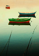 Galicia Photo Prints - Moored Boats At Sunset Print by Juan R. Fabeiro