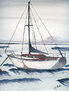 Sailboat Paintings - Moored by Eva Ason
