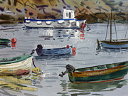 Moored Paintings - Moored Fishing Boats by Donald Maier