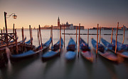 Italian Sunset Posters - Moored Gondolas In Venice, Italy Poster by David Henderson
