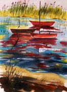 Watercolors Drawings - Moored in the Cove by John  Williams