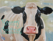 Cow Mixed Media Prints - Moorry Christmas Print by Laura Carey