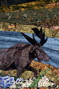 Art Quilt Tapestries - Textiles Prints - Moose Amongst the Flowers Print by Linda Beach
