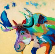 Abstract Wildlife Paintings - Moose and Blue Clouds by Tracy Miller