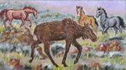 Wyoming Paintings - Moose and Horses animal vignette from River Mural by Dawn Senior-Trask