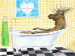 Humor Painting Posters - Moose Bath Poster by LeAnne Sowa