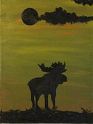 Hunting Cabin Posters - Moose Poster by Brandi Webster