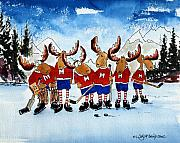 Hockey Painting Posters - Moose Champs and Shinny Kings Poster by Wilfred McOstrich