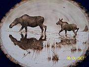 Alaska Moose Pyrography - Moose cow and her calf  by Adam Owen
