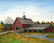 Red Barn Paintings - Moose Hill Barn by Elaine Farmer