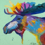 Colorful Contemporary Art - Moose in Green by Tracy Miller