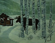 By Barbara St. Jean Prints - Moose Lake Print by Barbara St Jean