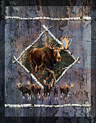 Cabin Paintings - Moose Lodge by JQ Licensing
