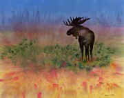 Landscape Tapestries - Textiles Prints - Moose on the tundra Print by Carolyn Doe