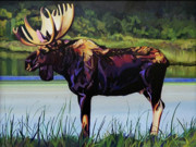 Twig Eater Prints - Moose River Print by L V Fry