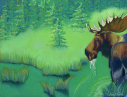 Swamp Pastels Posters - Moose Poster by Tracy L Teeter