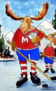 Hockey Painting Originals - Moost Valuable Player by Wilfred McOstrich