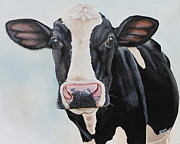Calf Paintings - Moowho by Laura Carey