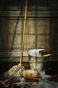 Manual Prints - Mop with bucket and scrub brushes Print by Sandra Cunningham
