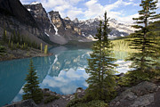 Mountain Prints - Moraine Lake In The Valley Of The Ten Print by Matthias Breiter