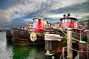 Docked Boats Framed Prints - Moran Towing Tug Boats Framed Print by Robert Clifford