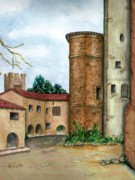 Italian Landscape Painting Originals - Morcone  by Pamela Allegretto