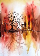 Wet Into Wet Watercolor Framed Prints - Mordor Framed Print by Chris Blevins