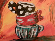 Stacked Paintings - More Coffee Anyone by Rebecca or Becky  Williams
