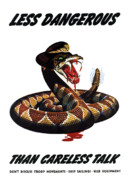 Careless Talk Posters - More Dangerous Than A Rattlesnake Poster by War Is Hell Store