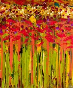 Wax Mixed Media Posters - More Flowers in the Field Poster by Angela L Walker