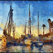 Impressionism Art - More #fun With #autopainter #boats #lbc by Debi Tenney