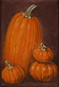 Pumpkins Paintings - More Pumpkins by Linda Eades Blackburn