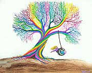 Rainbow Colors Posters - More Rainbow Tree Dreams Poster by Nick Gustafson