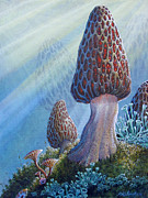 Forest Floor Paintings - Morel Mushrooms by Mike Stinnett