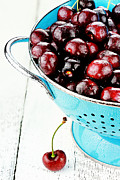 Colander Framed Prints - Morello Cherries Framed Print by Stephanie Frey
