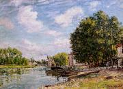 Reflecting Tree Paintings - Moret-sur-Loing by Alfred Sisley