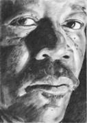 Morgan Drawings Posters - Morgan Freeman Poster by Annie GODET